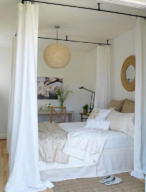erstaunliche weiße Himmelbett Designs wandspiegel bequem