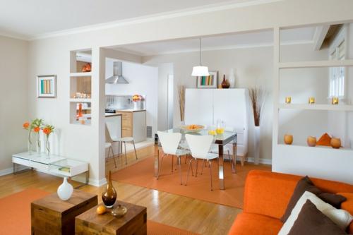 farbgestaltung mit schönen Mustern bunt weiß orange esszimmer küche