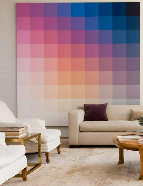 farbgestaltung mit schönen Mustern hause wandgestaltung sofa wohnzimmer