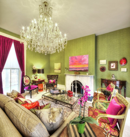 Elegante Farbgestaltung zu Hause vorhänge rosarot kisssen