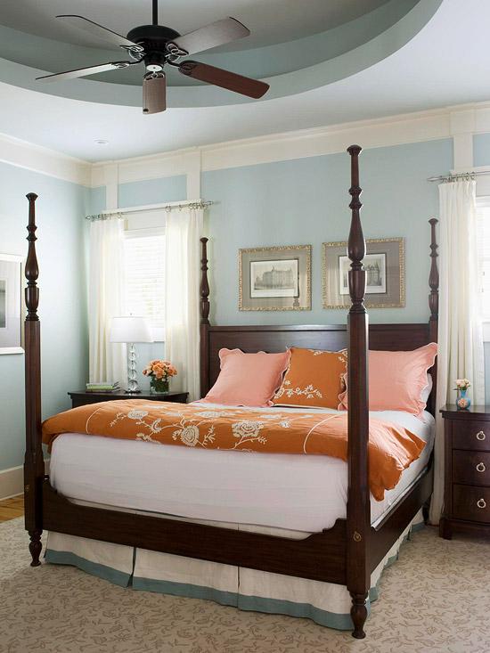 frisch und chic mit blau elegantes doppelbett aus nussbaumholz