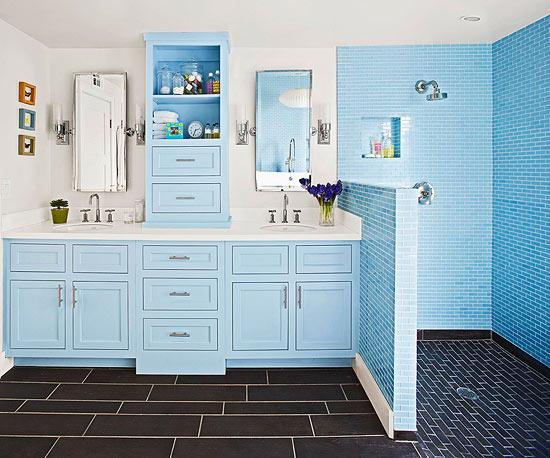 frisch und chic mit blau vintage wasserhähne