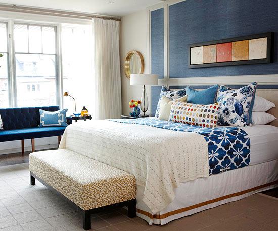 frisch und chic mit blau weichgepolsterte bettbank mit leopardenmuster