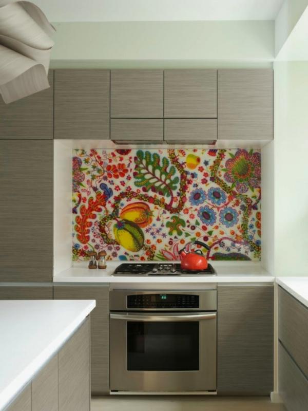 frische küchenrückwand bunte florale muster laminiert