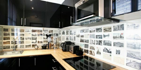 frische küchenrückwand ideen hoch glanz in schwarz schränke