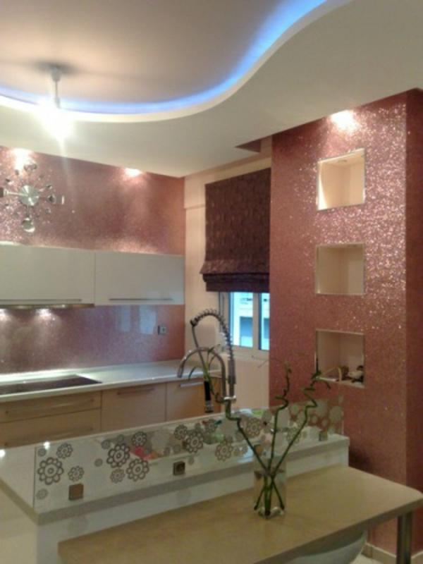 küchenrückwand ideen in lachs farbe glitzernd