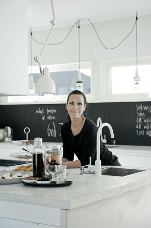 frische küchenrückwand ideen schwarze kreidetafel