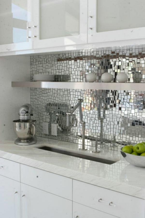küchenrückwand ideen spiegelmosaik