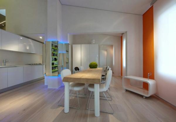 futuristische residenz orange akzentwand