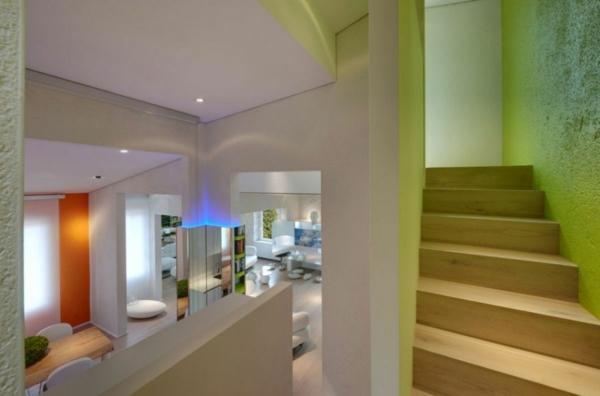 futuristische residenz schlichte treppe aus hellem holz