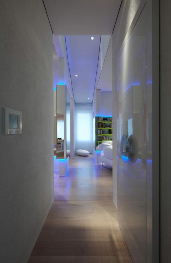 futuristische residenz schmaler flur und glastür