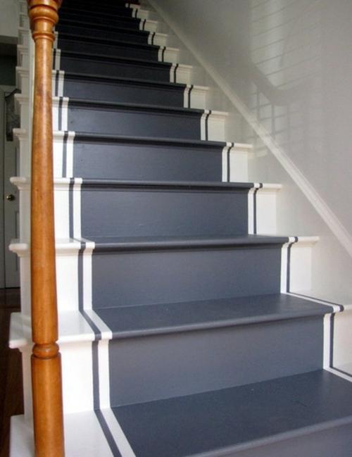 gefärbte treppenläufer elegant in weiß und grau