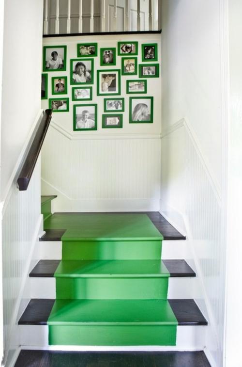 gefärbte treppenläufer grasgrün und schwarzweiße fotos