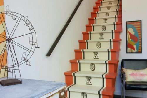 gefärbte treppenläufer kunstvoll und modern