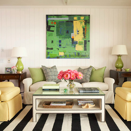 gewagte farbgestaltung für ihr wohnzimmer breite streifen teppich
