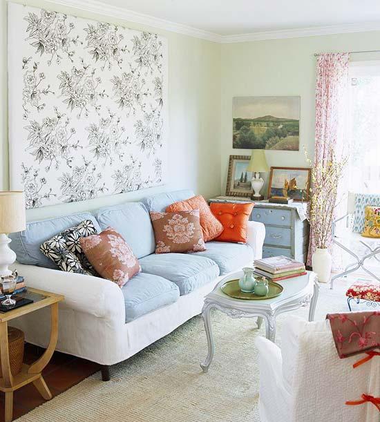 gewagte farbgestaltung für ihr wohnzimmer eklektisch mit filigarnen blumenmustern