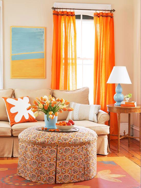farbgestaltung wohnzimmer orange:Orange Living Room Curtains