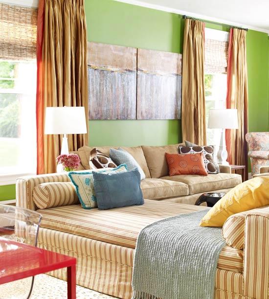 gewagte farbgestaltung für ihr wohnzimmer minzgrüne akzentwand