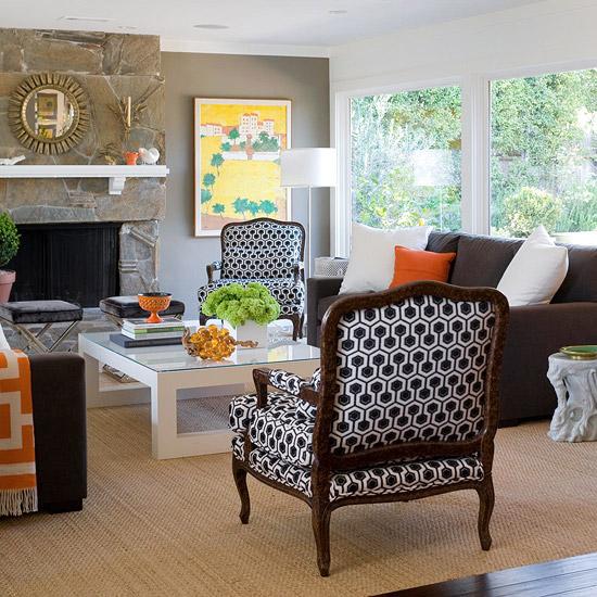 gewagte farbgestaltung für ihr wohnzimmer natursteine am kamin