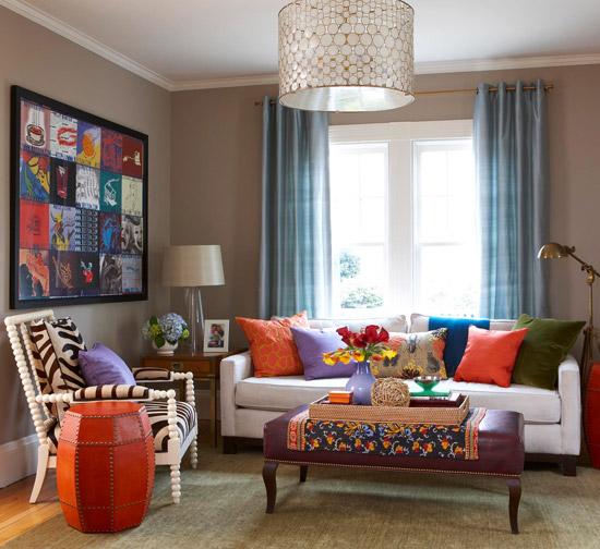 gewagte farbgestaltung für ihr wohnzimmer schicke beistell und couchtisch orange und lila