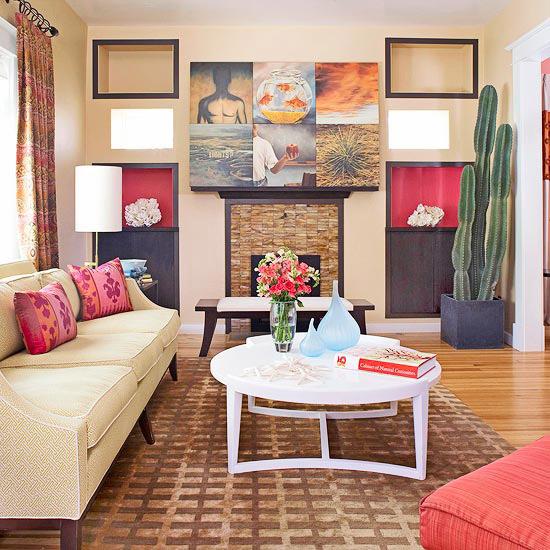 gewagte farbgestaltung für ihr wohnzimmer warme nuancen fotokollage