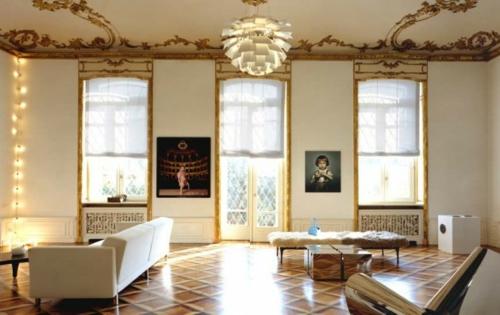 glamouröse interior ideen eklektisches design goldene deckenverzierung