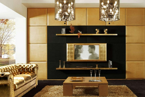 Best Wohnzimmer Schwarz Gold Photos - House Design Ideas