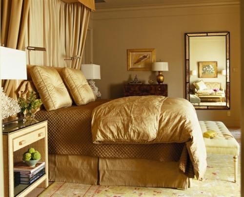 glamouröse interior ideen goldene bettwäsche aus seide