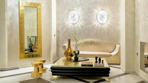 glamouröse interior ideen goldener spiegelramen glänzende vase