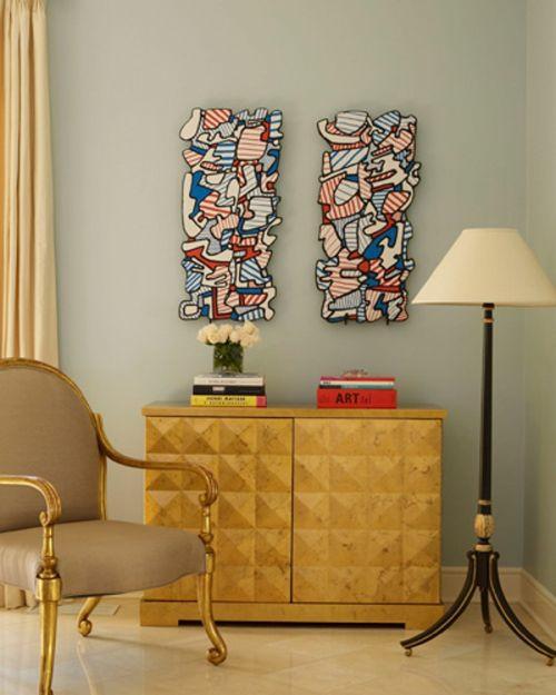 glamouröse interior ideen retro möbel und abstrakte wandkunst