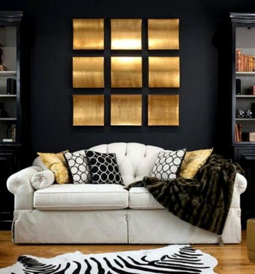 glamouröse interior komfortable couch quadratische wanddekoration