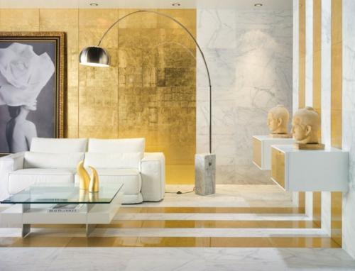 glamouröse interior stahl bogenlampe vergoldete wand