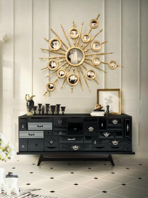 glamouröse interior stilisierte sonne wandspiegel