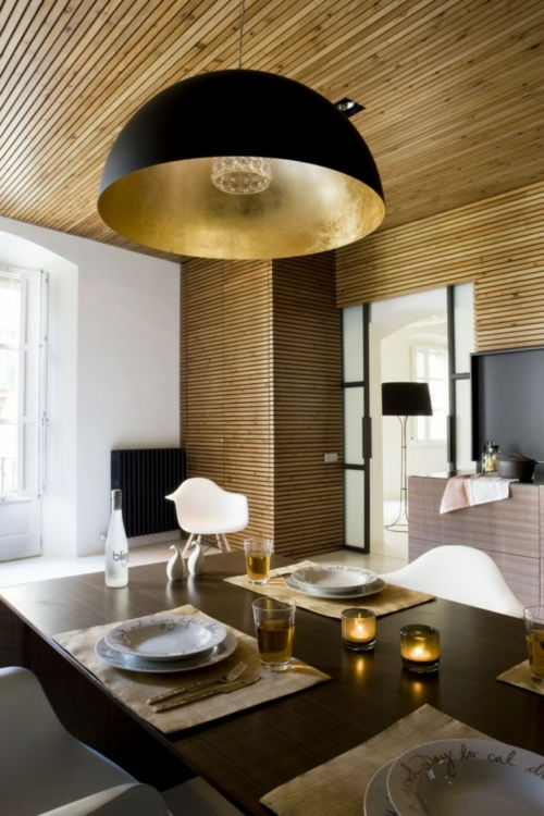 glamouröse interior wand und decken täfelung aus hellem holz