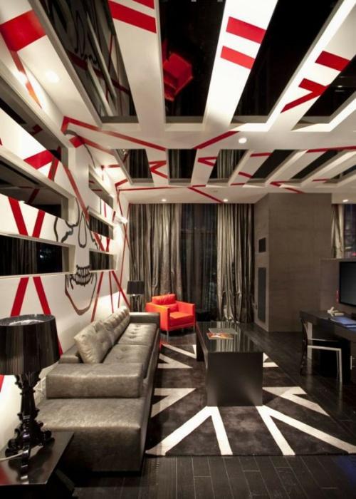 glanzvoll attraktiv rot streifen weiß zimmerdecke innovativ sofa