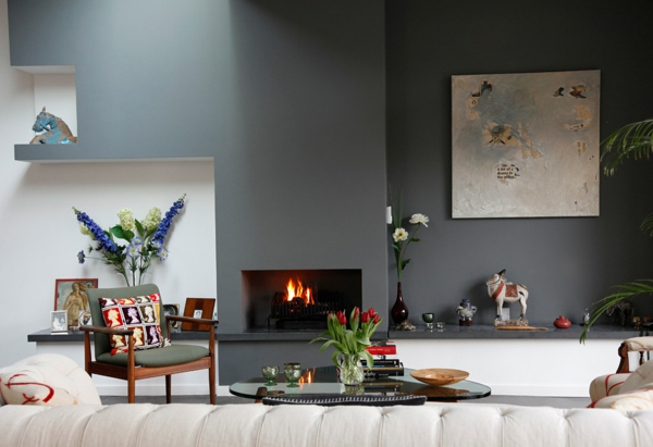 Grau Als Trendfarbe Eklektisch Und Gemtlich Mit Kamin