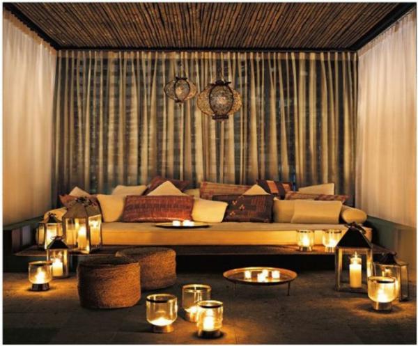großartige marokkanische Interior Designs  wohnzimmer kerzen vorhänge samt