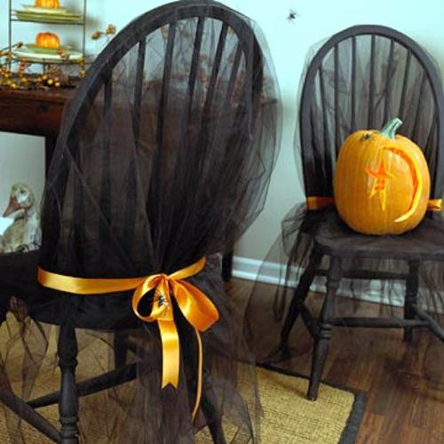 gruselige stühle auflagen schwarz orange sitzüberzug