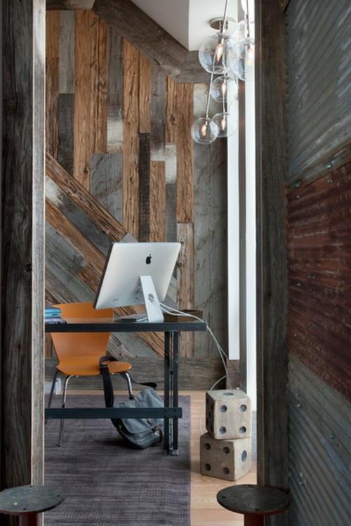 industrielle Akzente im Interior Design holz platten kugel leuchten