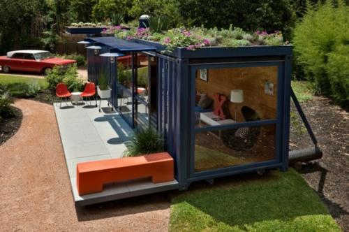 innovativ architektur design orange sitzmöbel außenbereich container