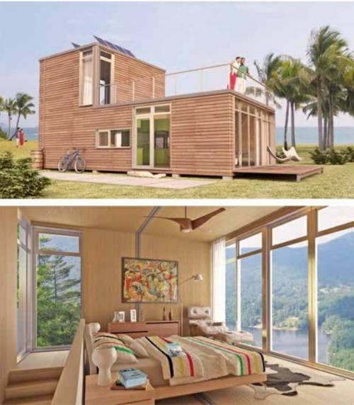 inspirierende Container Häuser holzplatten natur umgebung dach veranda