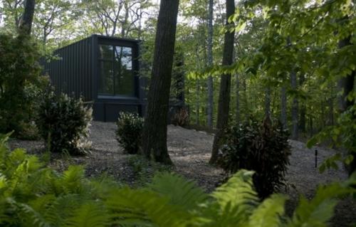 inspirierende Container Häuser metall schichten schwarz außendesign wald