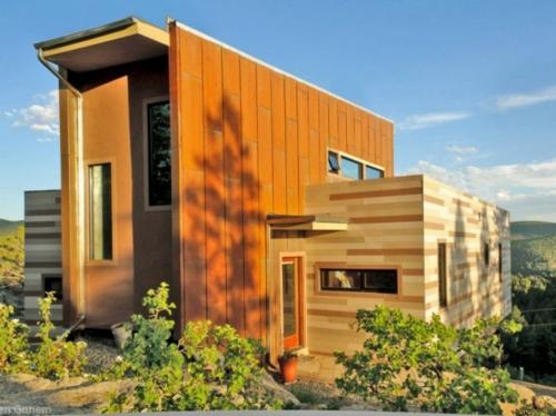 inspirierende Container Häuser verschieden farben platten geometrisch