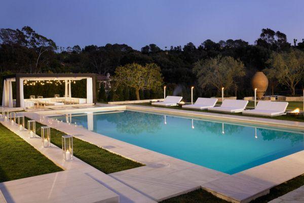 integriert pool außenbereich modern minimalistisch pergola sitzecke
