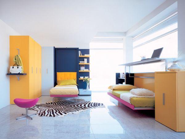 intelligente designs mit klappbett einzelbett in pink und gelb