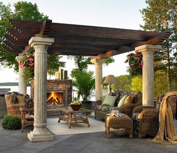 klassisch charme säulen pergola design holz idee säulen