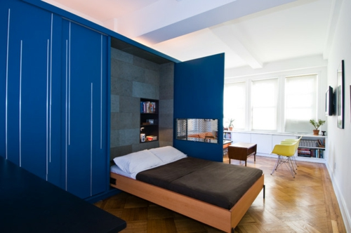 kleine Apartment Designs eingebaut doppelbett ausziehbar holz gestell