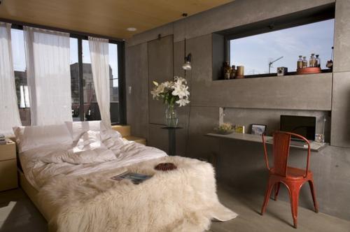 kleine Apartment Designs schlafzimmer doppelbett wäsche decken