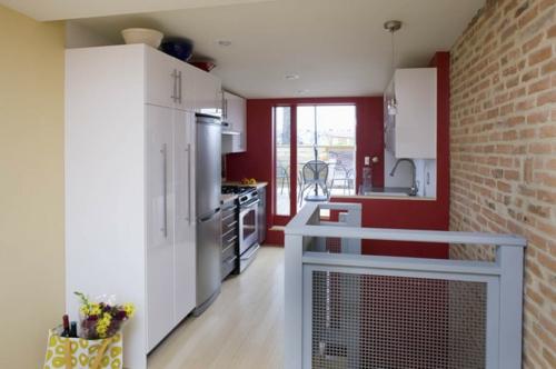 schöne Ideen für Küchenfenster industrielles design geländer metall