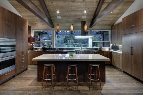 kreative Ideen für Küchenfenster modern design barhocker leder sitzplatz